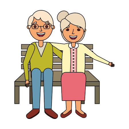 elderly couple sitting on bench vector illustration 向量圖像