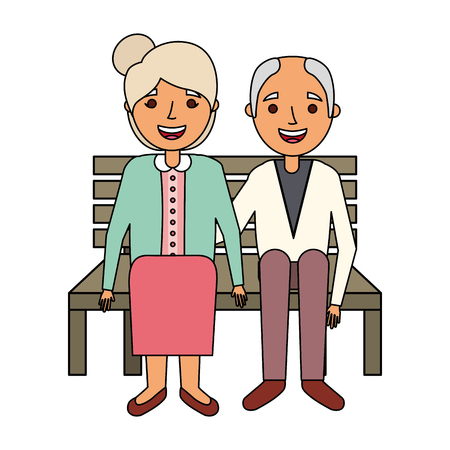 elderly couple sitting on bench vector illustration 版權商用圖片 - 126820747