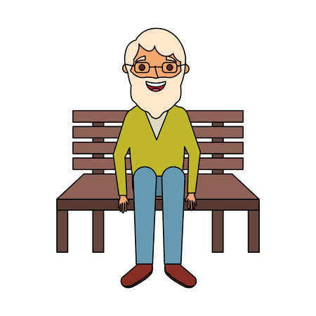 old man sitting on bench vector illustration