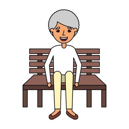 old woman sitting on bench vector illustration Çizim