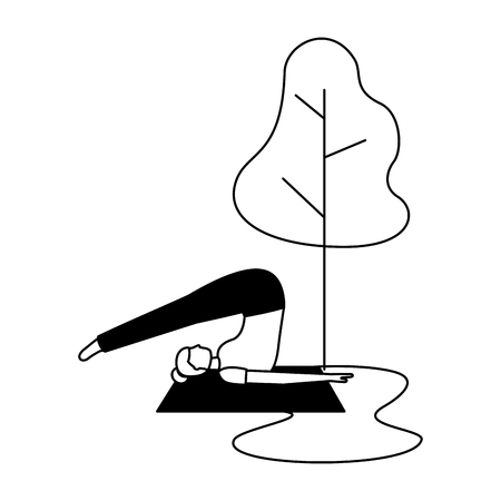 yoga activity woman on mat tree natural vector illustration   vector illustration