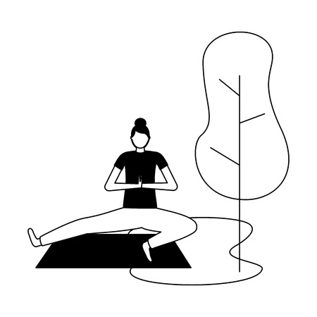 yoga activity woman on mat tree natural vector illustration   vector illustration