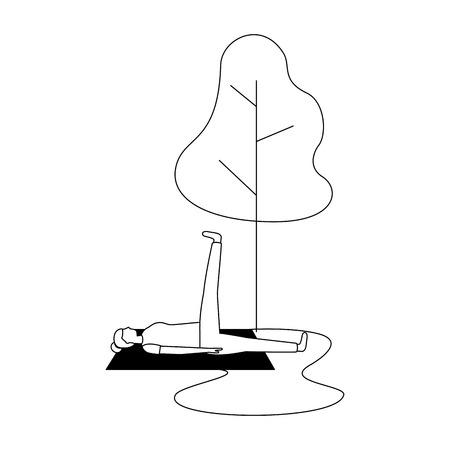 Mujer de actividad de yoga en el árbol de la estera ilustración vectorial natural ilustración vectorial Ilustración de vector