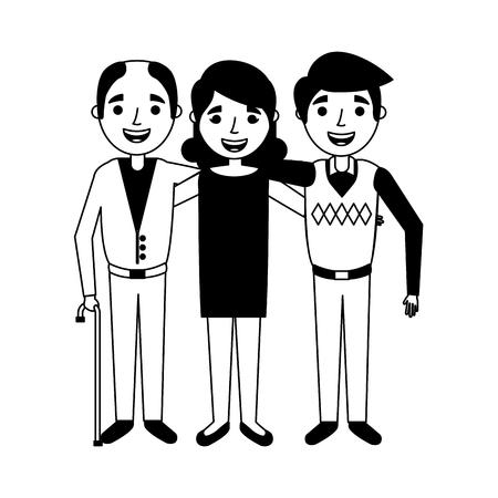 Grupo de ancianos abrazados ilustración vectorial retrato