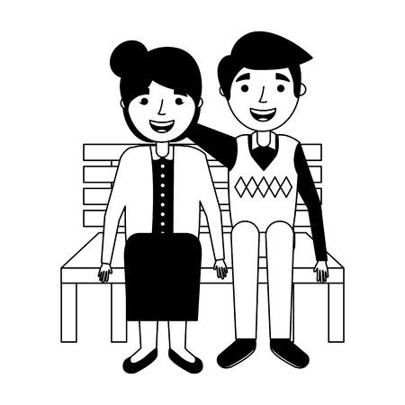 elderly couple sitting on bench vector illustration Illustration