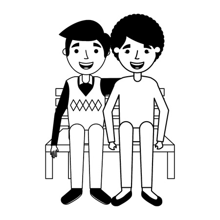 elderly couple sitting on bench vector illustration 版權商用圖片 - 113819098