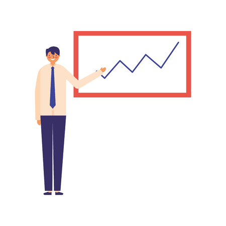 businessman showing presentation board chart vector illustration Illustration