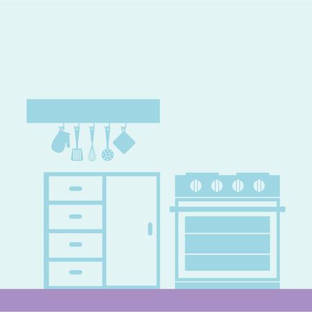 kitchen stove utensils furniture design vector illustration