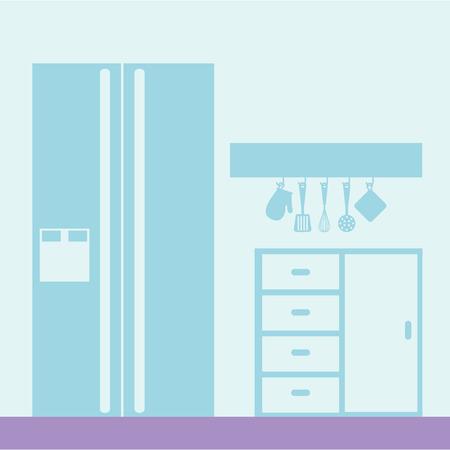 kitchen fridge glove spatula utensils vector illustration