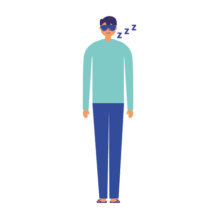 man sleeping with mask white background vector illustration Stock Illustratie