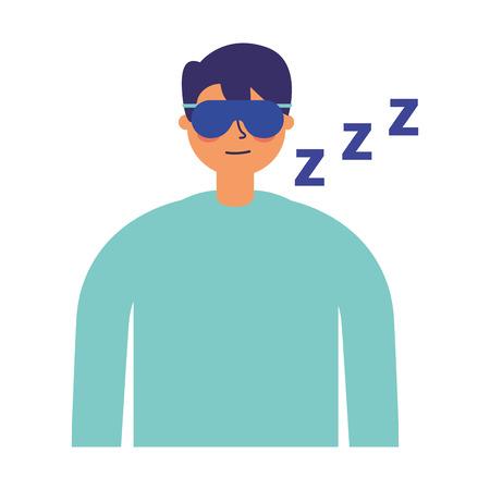 man sleeping with mask white background vector illustration Standard-Bild - 126820772