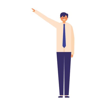 business man character pointing somewhere vector illustration Ilustração