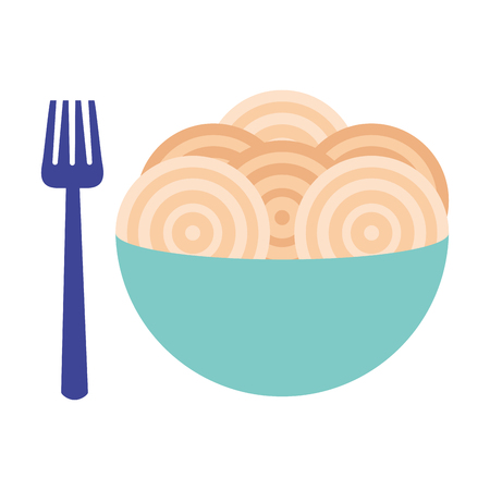 spaghetti with fork on bowl vector illustration