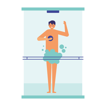 man taking shower in the bathroom vector illustration 写真素材 - 113825828