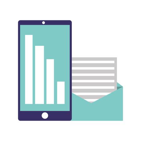 mobile chart financial email message vector illustration Foto de archivo - 126820783