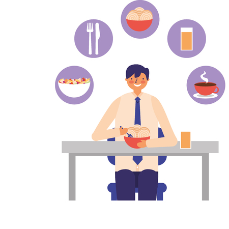 businessman lunch spaghetti in bowl with juice vector illustration Illustration