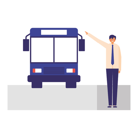 businessman character taking transport bus vector illustration Stock Illustratie
