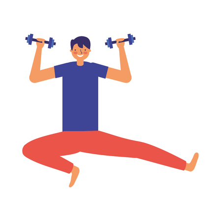 man practicing exercise with dumbbells vector illustration