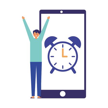 man wake up mobile clock alarm vector illustration