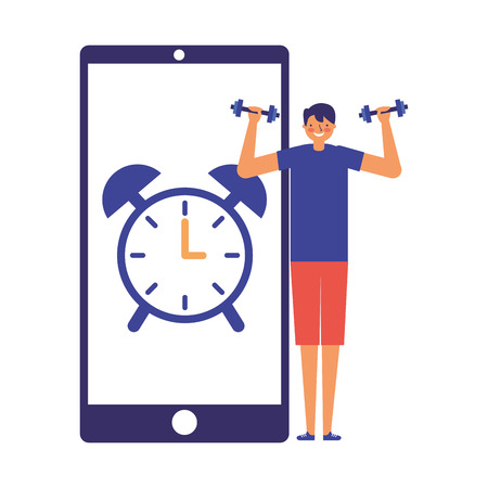 man practicing sport mobile clock alarm vector illustration