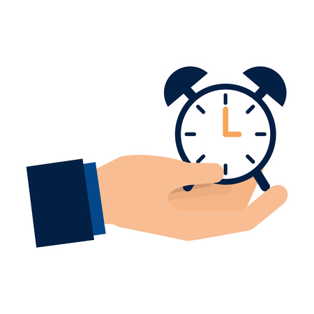 hand holding clock alarm time vector illustration Illustration