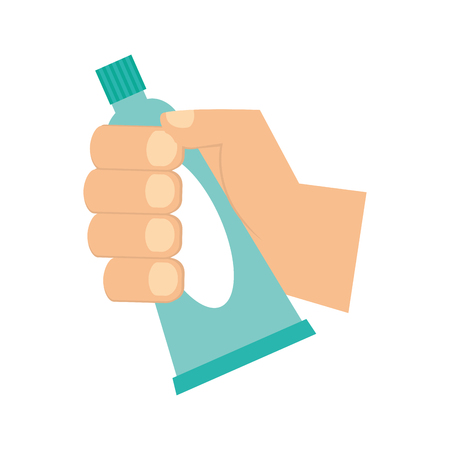 hand holding toothpaste hygiene oral vector illustration  イラスト・ベクター素材