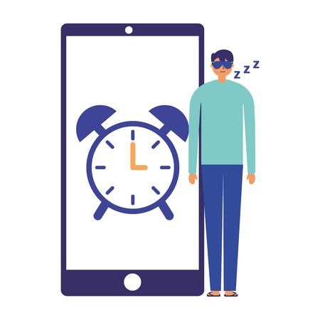 man sleeping mobile clock alarm vector illustration