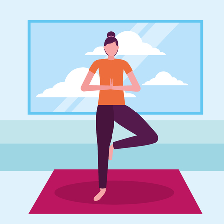 woman yoga activity stretching in room vector illustration