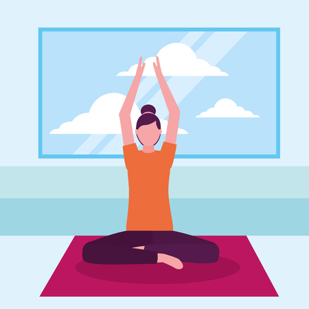 woman yoga activity stretching in room vector illustration Banque d'images - 113825838