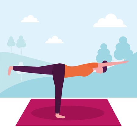 woman yoga activity stretching in room vector illustration Banque d'images - 113825840
