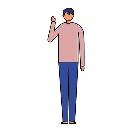 man holding toothbrush white background vector illustration