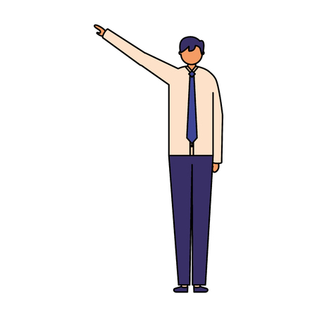 business man character pointing somewhere vector illustration Illustration