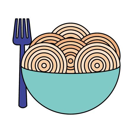 spaghetti with fork on bowl vector illustration Standard-Bild - 126820814