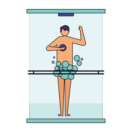 man taking shower in the bathroom vector illustration Foto de archivo - 113825846