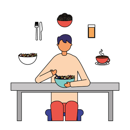 businessman lunch spaghetti in bowl with juice vector illustration Stock Illustratie