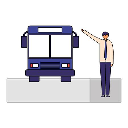 Caractère d'homme d'affaires prenant illustration vectorielle de bus de transport