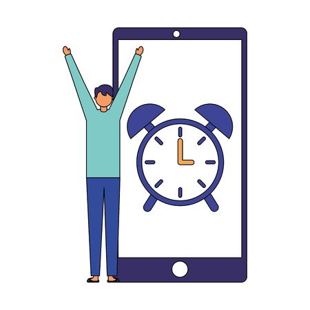 man wake up mobile clock alarm vector illustration