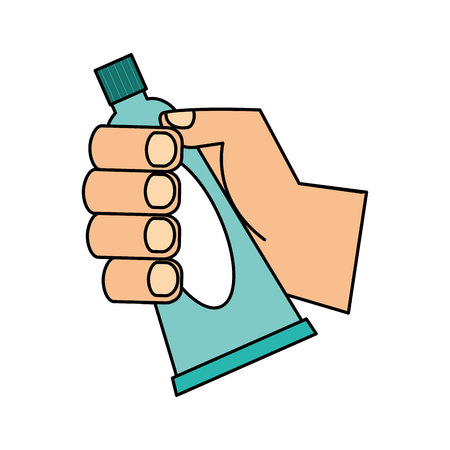 hand holding toothpaste hygiene oral vector illustration Illustration
