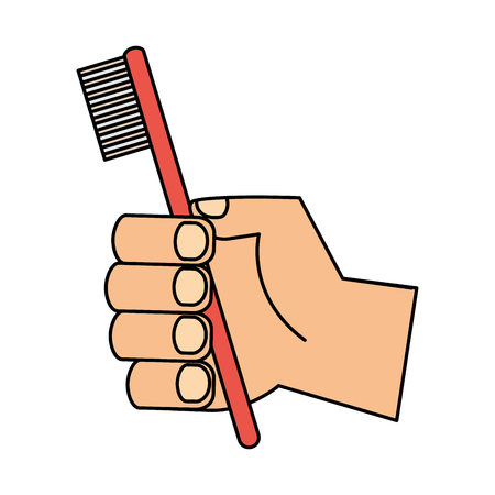hand holding toothbrush hygiene oral vector illustration