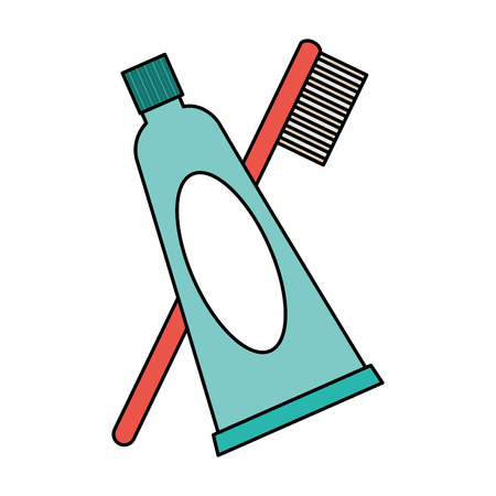 toothpaste and toothbrush higyene oral vector illustration