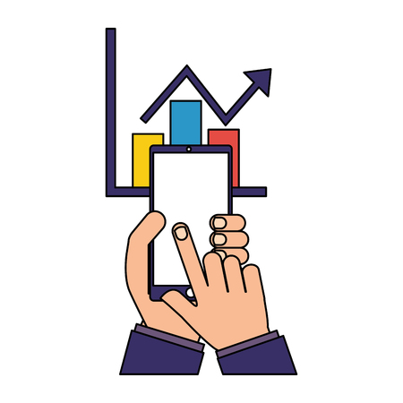 hands with mobile statistics chart report vector illustration