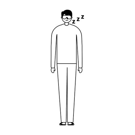 man sleeping with mask white background vector illustration Çizim