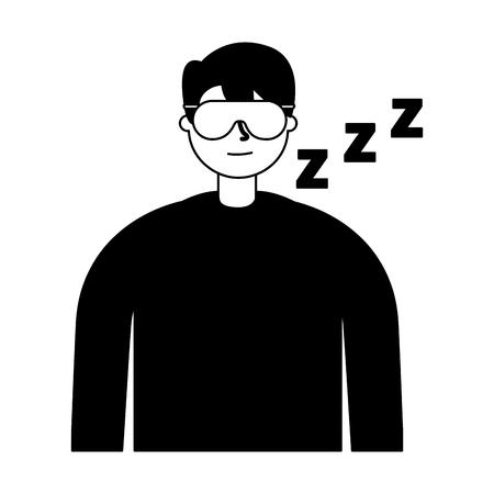 man sleeping with mask white background vector illustration Illustration