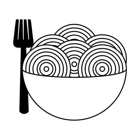 Spaghetti mit Gabel auf Schüsselvektorillustration Vektorgrafik