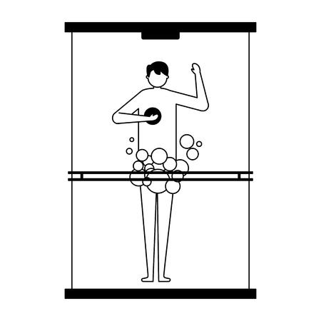 man taking shower in the bathroom vector illustration Archivio Fotografico - 113826004