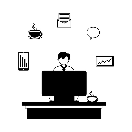businessman working computer office coffee cup vector illustration
