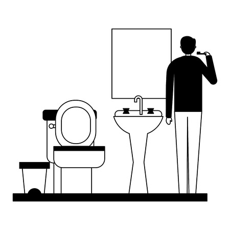 man with toothbrush in the bathroom vector illustration