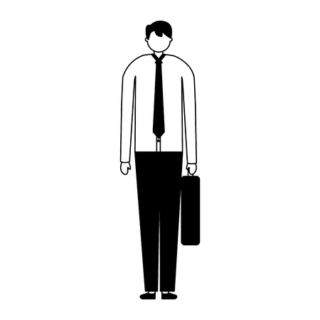 businessman with business briefcase white background vector illustration  イラスト・ベクター素材