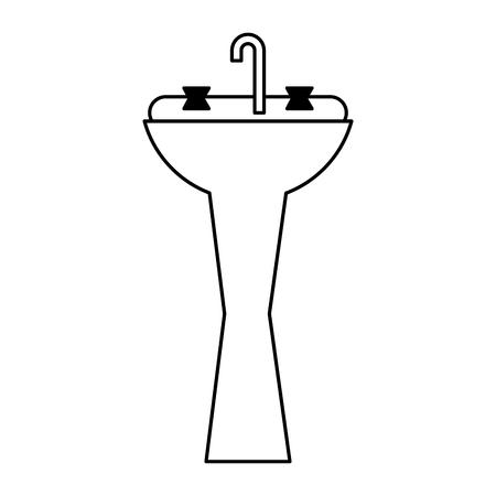 basin bathroom on white background vector illustration