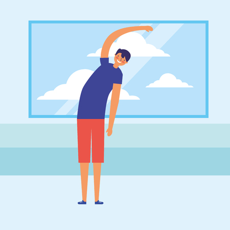man stretching daily routine morning vector illustration